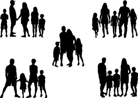 Large family. Black people silhouettes.