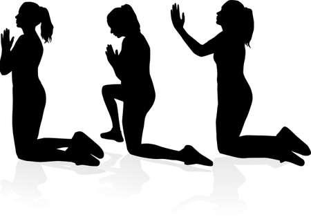 Silhouette of a kneeling woman Stock Illustratie
