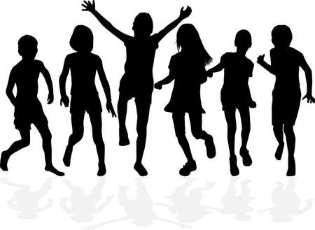 Children black silhouettes. Conceptual illustration