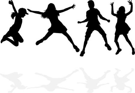 Children black silhouettes. Conceptual illustration. Ilustración de vector