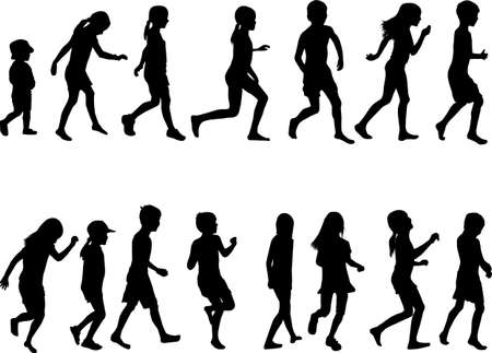 Children silhouettes running. Black silhouettes. Ilustracja