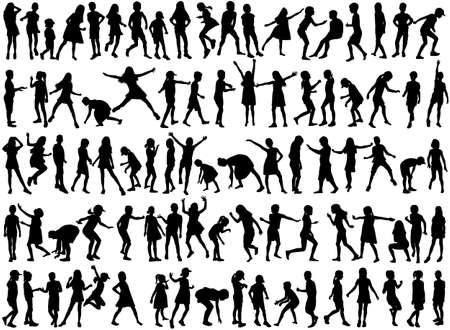Collection of silhouettes of children. Ilustracja