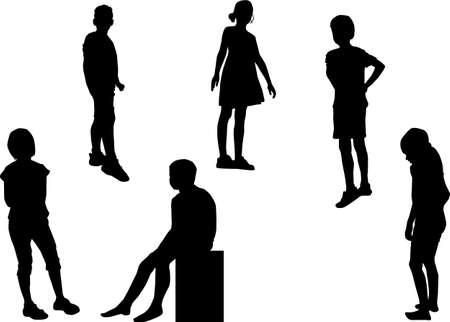 Children black silhouettes. Conceptual illustration. Ilustracja