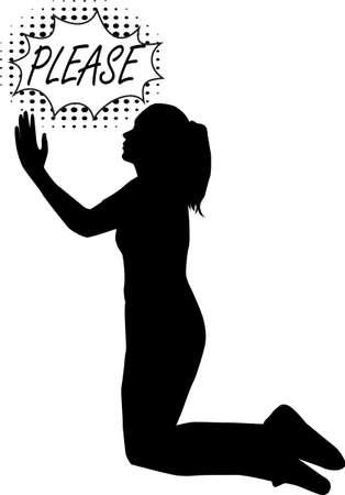Silhouette of a kneeling woman.