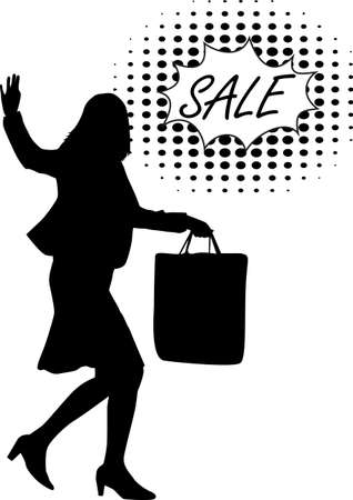 Silhouette of a woman on sale shopping.