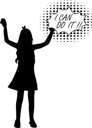Black Girl silhouette, concept illustration.
