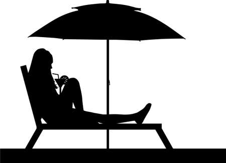 Women relaxing on deck chair Ilustracja