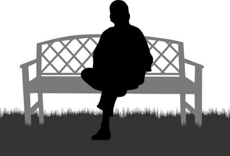 Group of people seated. Black silhouettes of people. Ilustracja