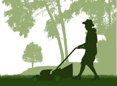 Man Mowing Lawn. Conceptual illustration. Ilustracja