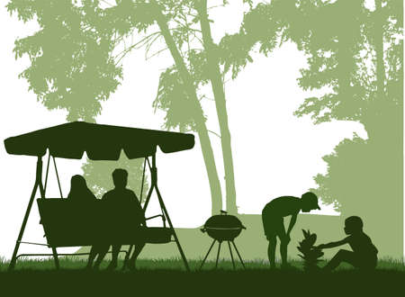 Barbeque in the garden, family spends their free time. Ilustracja