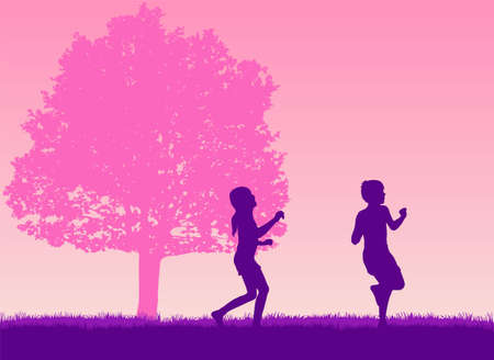 Silhouettes of children playing outside.