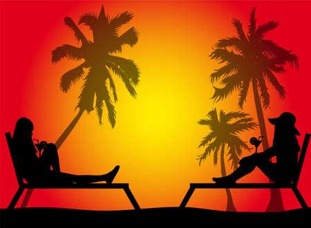 Women relaxing on deck chair.