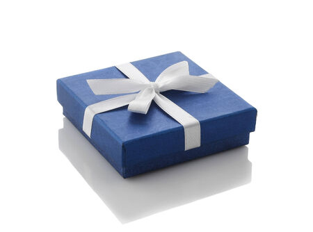 blue gift box with white ribbon in white background photo