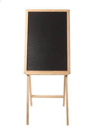 easel: Wooden easel with a black board on white isolate Stock Photo
