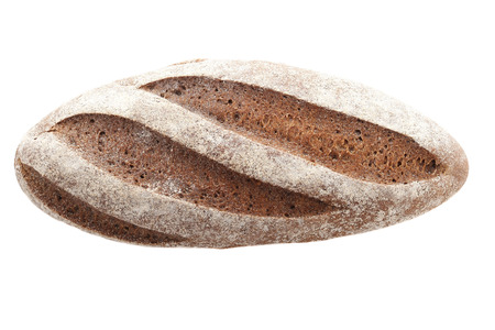 oaf of rye bread on a white background isolate. view from the top