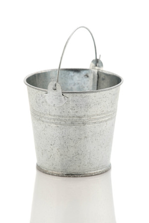 Zinc metal bucket isolated on white background isolate