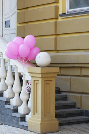 pink balloons: porch with pink balloons