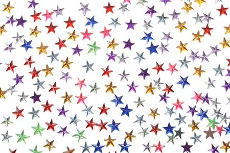 blowers: colored stars confetti on white background isolate Stock Photo