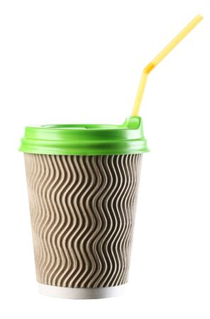 a paper cup with a lid and a straw close-up on a white background, isolate Stock Photo