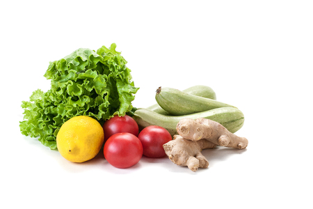 fresh vegetables and lettuce on white background, isolate