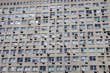 close-up windows of a multi-storey building Imagens