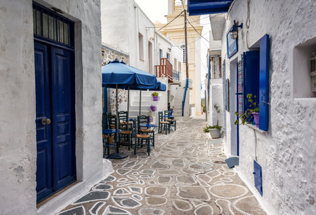 cyclades: Streets of Kimolos island, Cyclades, Greece Stock Photo