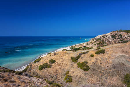 tou: Petra tou Romiou, Aphrodites birthplace in Paphos, Cyprus Stock Photo