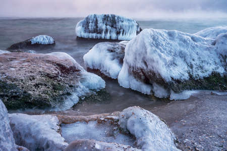water frozen: winter black sea -  Odessa, Ukraine