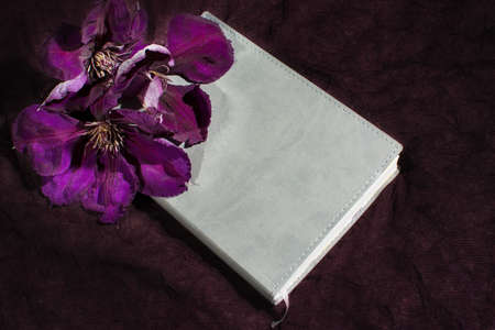 clematis flower: Blank book cover on dark background with blooming clematis flower Stock Photo