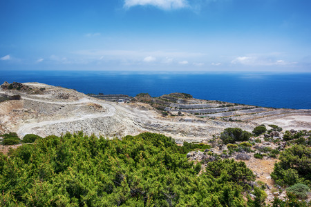 Sulfur career near Kleftiko on Milos Island Stock Photo