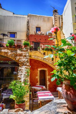 Beautiful Greek taverna in Chania old city, Crete island