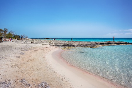 Famous Elafonissi beach on Crete island, Greece. Pink sand and crystall blue water