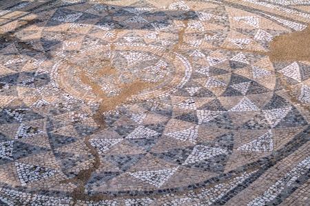 Ancient antique mosaic fragment. Dion Archaeological Park, Pieria, Greece