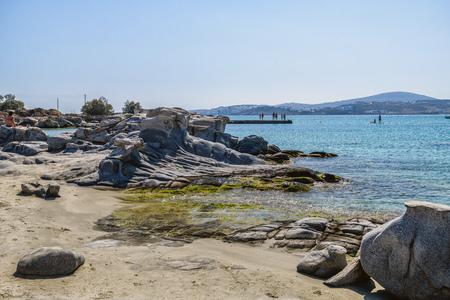 Famous Kolimbitres beach and big stones in Paros, Greece. Cyclades island 版權商用圖片
