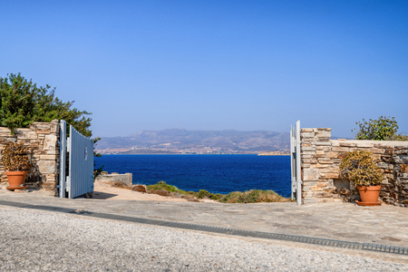 Beautiful nature of Antiparos island of Greece with crystal blue water and amazing views .