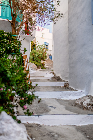 Traditional cyclades architecture on Island of Paros, Naoussa village. Greece.