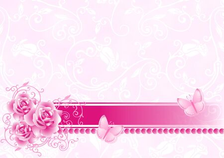 Celebratory background with roses, a tape and butterflies Stock Photo - 8283192