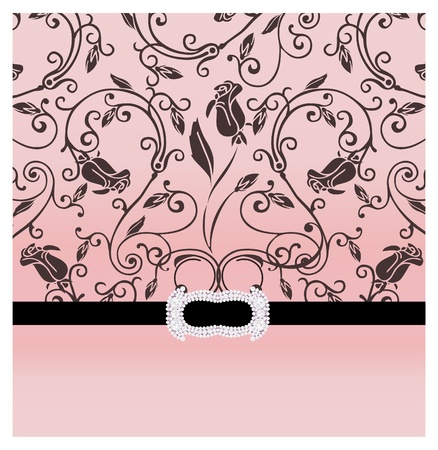 Wedding background with the roses, decorated with a black tape with a brooch Stock Photo