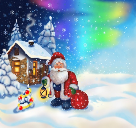 Illustration with Santa Claus and a small house