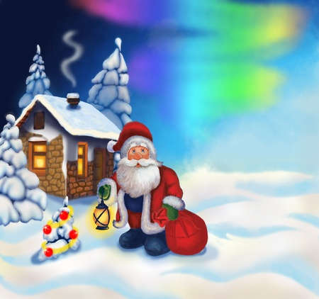 gnome: Illustration with Santa Claus and a small house