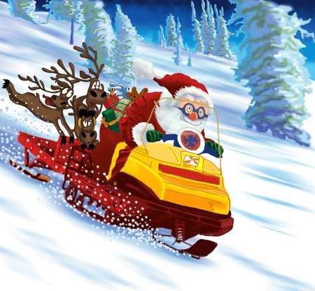 Santa Claus astride a snowmobile with gifts and deers.