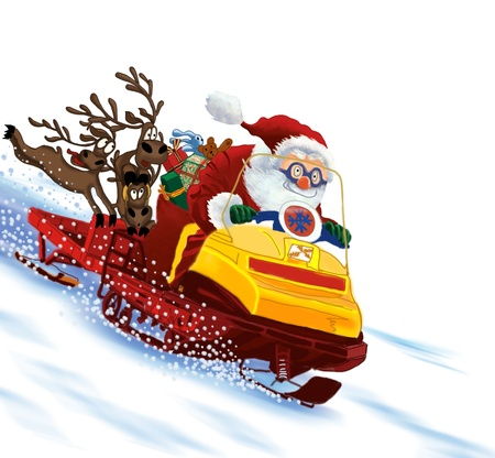 Santa Claus astride a snowmobile with gifts and deers. photo
