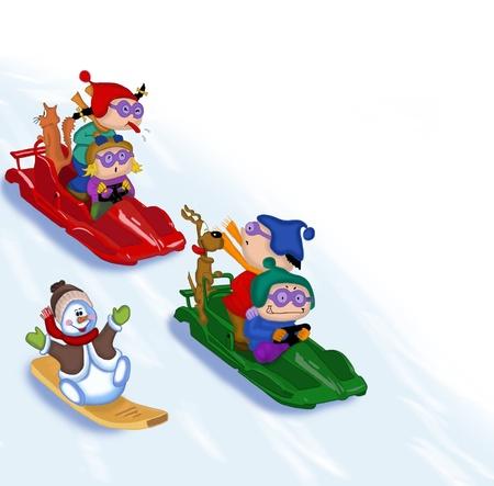 Children climb down a mountain on sledge.
