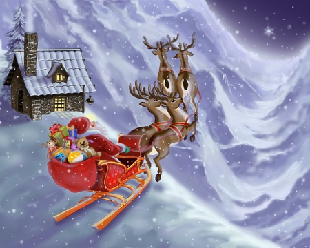 Santa Claus is flying in a sleigh with reindeer Stock Photo - 8428349