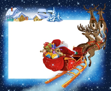 Background with Santa Claus on reindeer Stock Photo