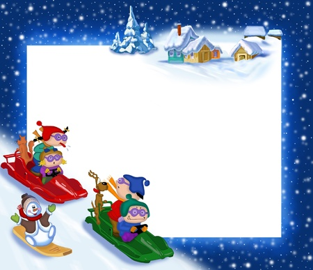 New Years background with children on sleds