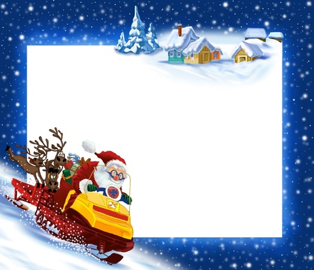 Funny New Years background Santa Claus ca snowmobile Stock Photo