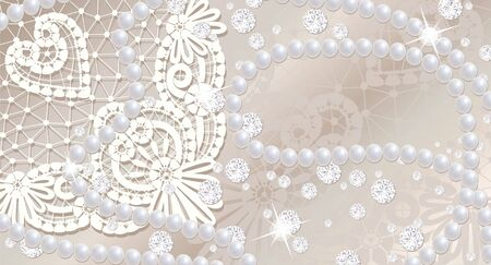 Lace background with pearls and diamonds photo