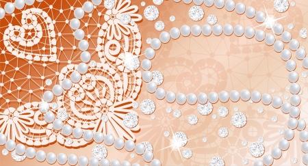 perlas: Fondo de encaje con perlas y diamantes Foto de archivo