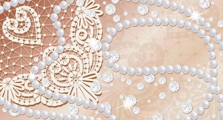 Lace background with pearls and diamonds Stock Photo